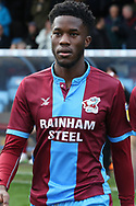 Scunthorpe United forward Ike Ugbo (9) prior to the EFL Sky Bet League 1 match between Scunthorpe United and Plymouth Argyle at Glanford Park, Scunthorpe, England on 27 October 2018. Pic Mick Atkins