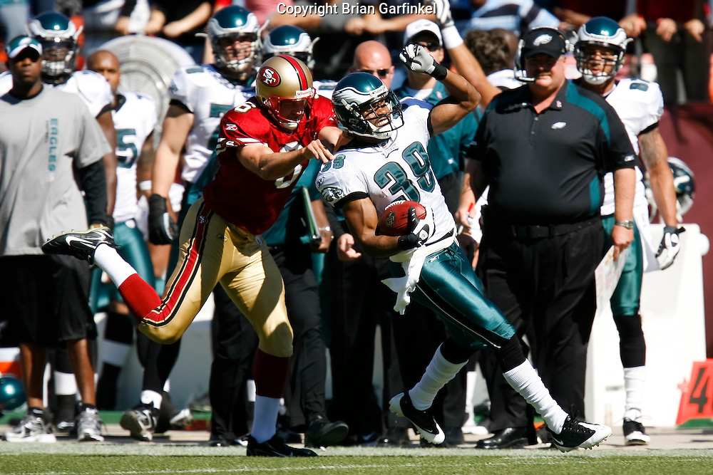 12 Oct 2008: Philadelphia Eagles FS Quintin Demps #39 returns a punt and is forced out of bounds by San Francisco 49ers PK Joe Nedney #6 during the game against the San Francisco 49ers on October 12th, 2008. The Eagles won 40-26 at Candlestick Park in San Francisco, California.