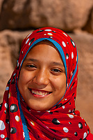 Egyptian girl, The Great Pyramids of Giza, outside Cairo, Egypt