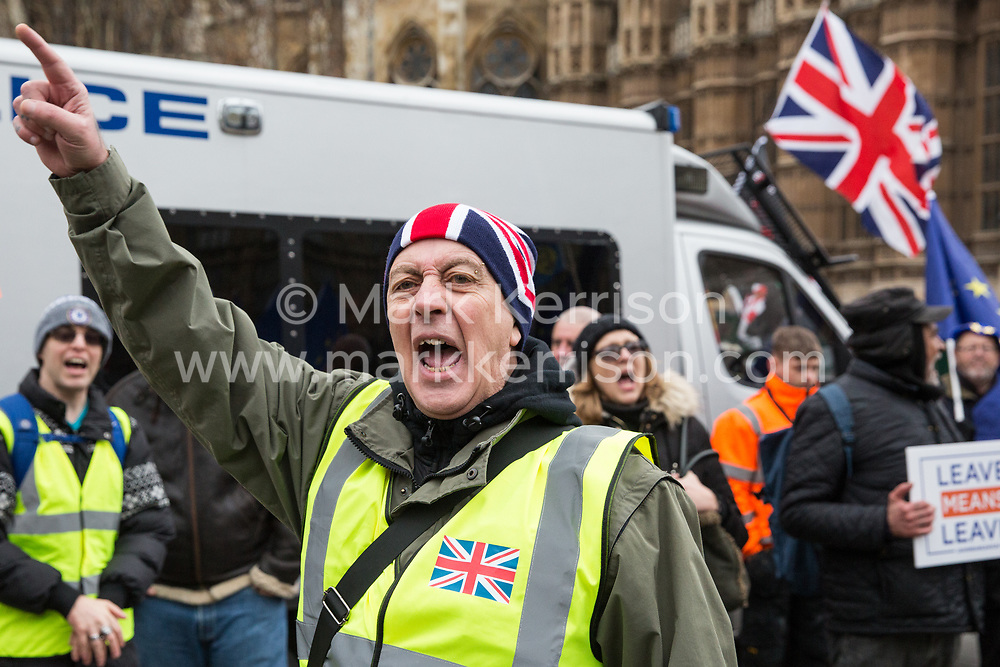 London, UK. 29th January, 2019. Pro-Brexit protesters outside Parliament on the day of votes in the House of Commons on amendments to the Prime Minister's final Brexit withdrawal agreement which could determine the content of the next stage of negotiations with the European Union.