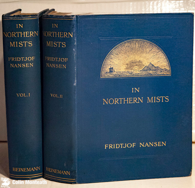 IN NORTHERN MISTS  - ARCTIC EXPLORATION IN EARLY TIMES  - Fridtjof Nansen,  Willliam Heinemann, London,1911, First UK Edn, 2 volumes, VG+ original blue/jade cloth, some foxing, one internal rear fep starting to split, about a fine a set as you'll ever find. A true classic, great piece of research on man's earliest ideas and explorations of the Arctic, written by the Arctic's greatest hero $NZ1150