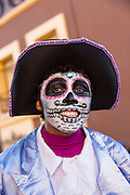 A boy dressed as a skeleton during the Day of the Dead Festival known in spanish as Día de Muertos on October 25, 2014 in Oaxaca, Mexico.