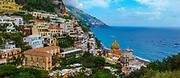 Colorful Buildings in Positano and Mediterranean Sea