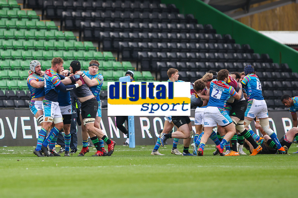 Rugby Union - 2020 / 2021 Gallagher Premiership - Round Nine - Harlequins vs Leicester Tigers - The Stoop<br /> <br /> Tempers flare shortly after kick off as players engage in a brawl<br /> <br /> <br /> <br /> COLORSPORT/DANIEL BEARHAM