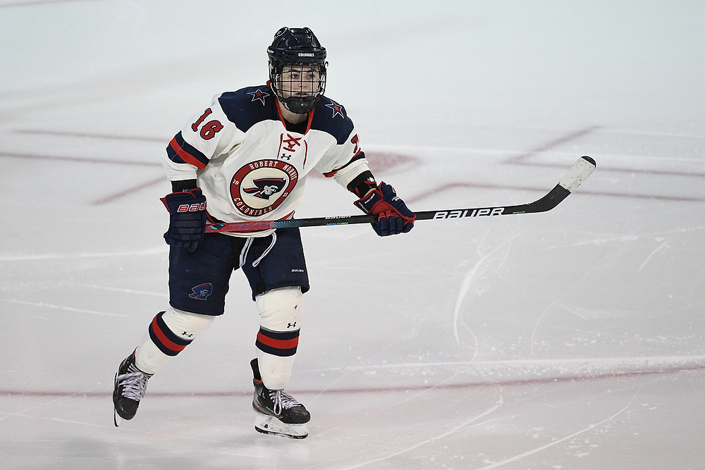 ERIE, PA - MARCH 06: Michaela Boyle #16 of the Robert Morris Colonials skates in the third period during the CHA Tournament Championship game against the Syracuse Orange at the Erie Insurance Arena on March 6, 2021 in Erie, Pennsylvania. (Photo by Justin Berl/Robert Morris Athletics)