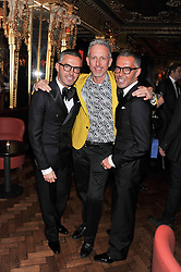 Left to right, DEAN CATEN, PATRICK COX and DAN CATEN at the 50th birthday party for Patrick Cox held at the Café Royal Hotel, 68 Regent Street, London on 15th March 2013.