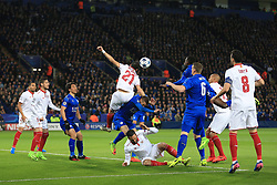 14th March 2017 - UEFA Champions League - Round of 16 (2nd Leg) - Leicester City v Sevilla - Nicolas Pareja of Sevilla climbs to beat Jamie Vardy of Leicester to a header - Photo: Simon Stacpoole / Offside.