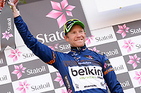 Podium, Lars-Peter NORDHAUG (Nor) Belkin, Blue Leader Jersey, during the Artic Race Norway 2014, Stage 2, Honningsvag (Nor)- Alta (Nor) (207km) on August 15, 2014. Photo Tim de Waele / DPPI