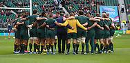 Australian team preparing to take on Scotland during the Rugby World Cup Quarter Final match between Australia and Scotland at Twickenham, Richmond, United Kingdom on 18 October 2015. Photo by Matthew Redman.