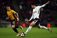 Son Heung-min of Tottenham Hotspur (R) takes a shot at goal. The Emirates FA Cup, 4th round replay match, Tottenham Hotspur v Newport County at Wembley Stadium in London on Wednesday 7th February 2018.<br /> pic by Steffan Bowen, Andrew Orchard sports photography.