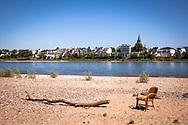 view from the banks of the river Rhine in the district Rodenkirchen-Weiss to Porz-Ensen, Cologne, Germany.<br /> <br /> Blick vom Weisser Rheinbogen in Rodenkirchen ueber den Rhein nach Porz-Ensen, Koeln, Deutschland.