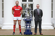 Alun Wyn Jones, the Wales captain and Robert Howley, the Wales head coach pose with the Six Nations trophy. RBS Six Nations 2017 media launch at the Hurlingham Club, Ranelagh Gardens in London on Wednesday 25th January 2017.<br /> pic by John Patrick Fletcher, Andrew Orchard sports photography.