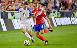 September 1, 2017 - Harrison, NJ, USA - Harrison, N.J. - Friday September 01, 2017:   Christian Pulisic, Bryan Oviedo during a 2017 FIFA World Cup Qualifying (WCQ) round match between the men's national teams of the United States (USA) and Costa Rica (CRC) at Red Bull Arena. (Credit Image: © Howard Smith/ISIPhotos via ZUMA Wire)