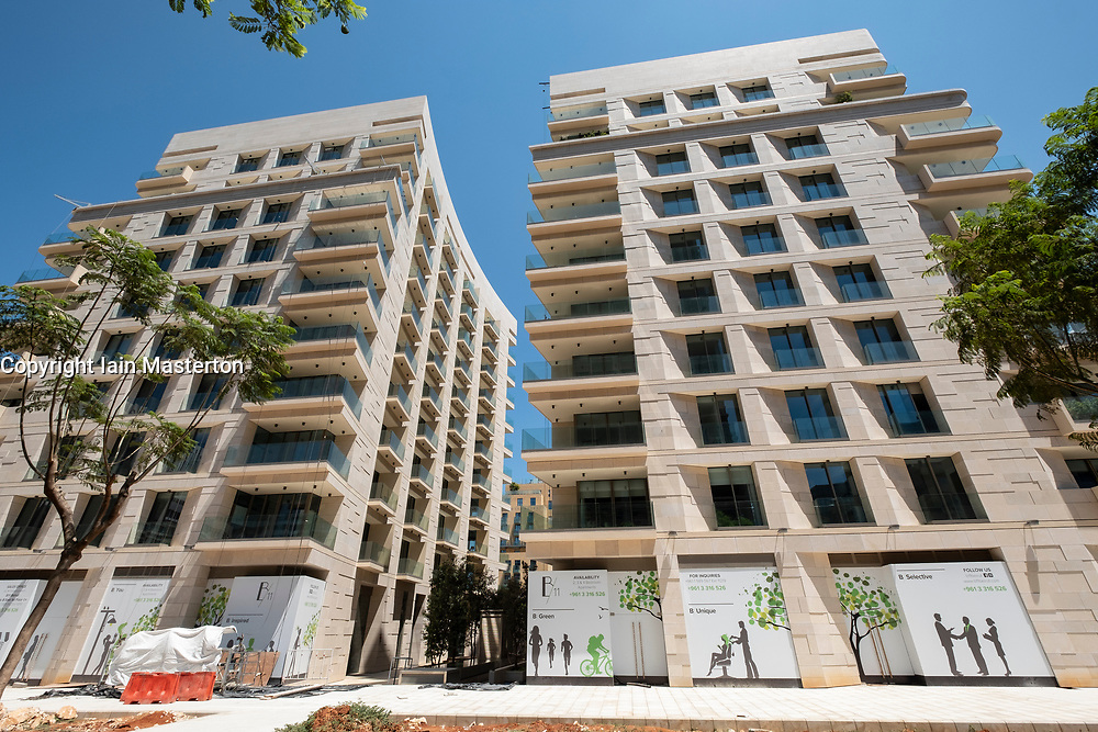 Modern  luxury apartment buildings under construction in central Beirut , Lebanon.