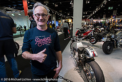Mick O'Shea of Ireland with his personal Cafe Racer Ducati that he built with Don Cronin and others from their joint Medaza Cycles at the Intermot Motorcycle Trade Fair. Cologne, Germany. Wednesday October 5, 2016. Photography ©2016 Michael Lichter.