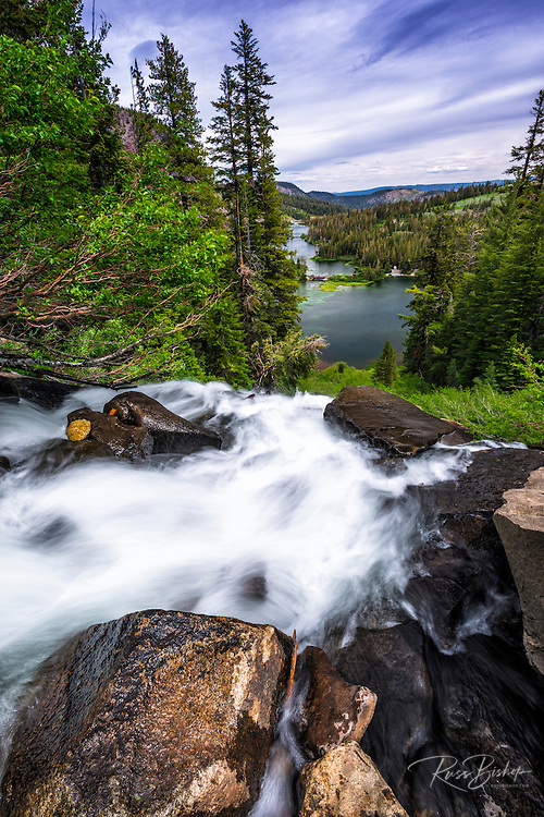 Twin Falls and Twin Lakes, Inyo National Forest, Mammoth Lakes, California USA