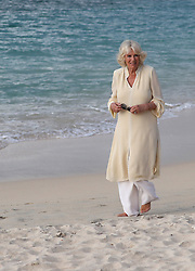 The Duchess of Cornwall walks along Grand Anse beach during a one day visit to the Caribbean island of Grenada.