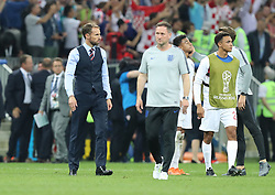 MOSCOW, July 11, 2018  Head coach Gareth Southgate (1st L) of England is seen after the 2018 FIFA World Cup semi-final match between England and Croatia in Moscow, Russia, July 11, 2018. Croatia won 2-1 and advanced to the final. (Credit Image: © Yang Lei/Xinhua via ZUMA Wire)