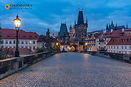 From the Charles Bridge at dawn in Prague, Czech Republic