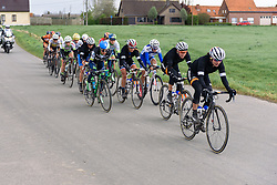 Marianne Vos (Rabo Liv) leads the front group at Dwars door de Westhoek 2016. A 127km road race starting and finishing in Boezinge, Belgium on 24th April 2016.