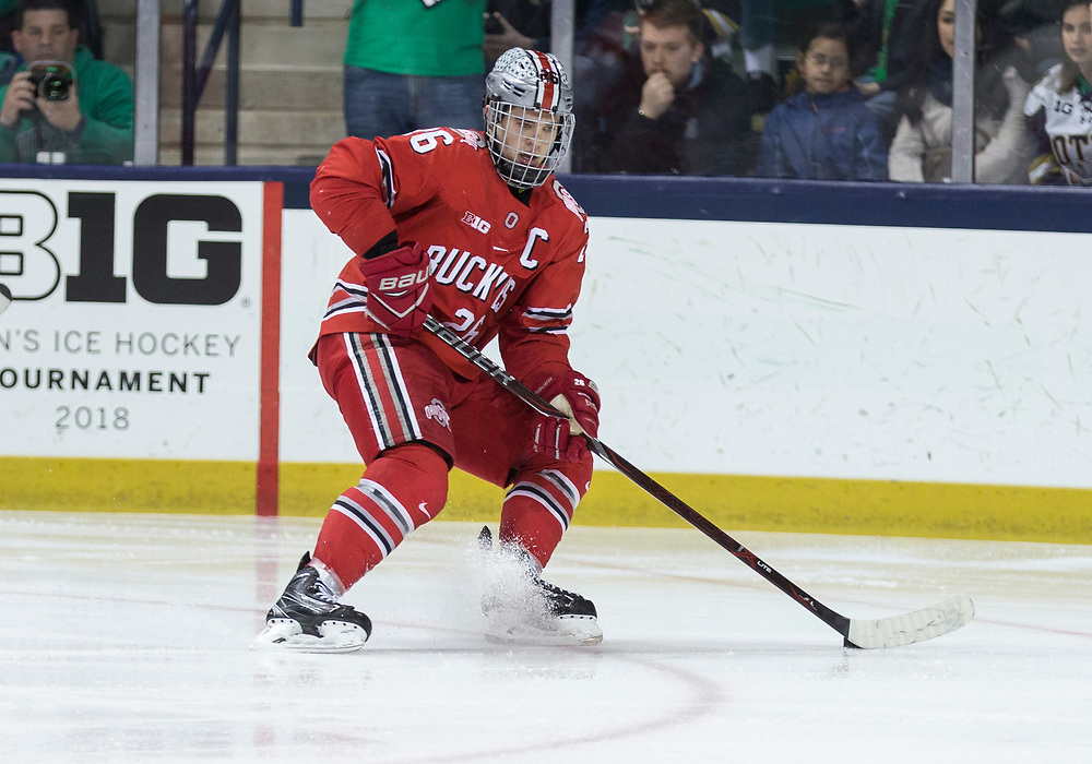 March 17, 2018:  Ohio State forward Mason Jobst (26) controls the puck during NCAA Hockey game action between the Notre Dame Fighting Irish and the Ohio State Buckeyes at Compton Family Ice Arena in South Bend, Indiana.  Notre Dame defeated Ohio State 3-2 in overtime.  John Mersits/CSM