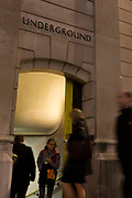 Blurred commuters enter and pass-by the Underground Station entrance at Bank, on Threadneedle Street in the heart of the Square Mile, the capital's historical and financial centre, on 1st November 2017, in the City of London, England.
