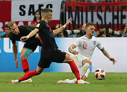MOSCOW, July 11, 2018  Kieran Trippier (R) of England vies with Ivan Perisic (C) of Croatia during the 2018 FIFA World Cup semi-final match between England and Croatia in Moscow, Russia, July 11, 2018. (Credit Image: © Yang Lei/Xinhua via ZUMA Wire)