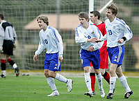 Fotball<br /> La Manga 2006<br /> Landskamp U17 / U17 tournament<br /> Belgia v Finland 4-1 / Belgium v Finland 4-1<br /> 26.02.2006<br /> Foto: Morten Olsen, Digitalsport<br /> <br /> Finland celebrating 1-0. L-R: Teemu Pukki - KooTeePee / Riku Riski / TPS - Eetu Parpala - HJK