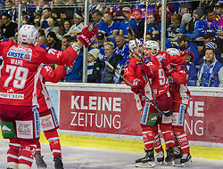 18.11.2018, Stadthalle, Klagenfurt, AUT, EBEL, EC KAC vs EC VSV, 20. Runde, im Bild Mich Wahl (EC KAC, #79), Clemens Unterweger (EC KAC, #92), Thomas Hundertpfund (EC KAC, #27) // during the Erste Bank Eishockey League 20th round match between EC KAC and EC VSV at the Stadthalle in Klagenfurt, Austria on 2018/11/18. EXPA Pictures © 2018, PhotoCredit: EXPA/ Mag. Gert Steinthaler