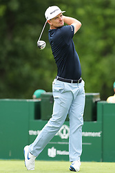 May 30, 2019 - Dublin, OH, U.S. - DUBLIN, OH - MAY 30: Justin Rose of England plays his shot from the ninth tee during the first round of The Memorial Tournament on May 30th 2019  at Muirfield Village Golf Club in Dublin, OH. (Photo by Ian Johnson/Icon Sportswire) (Credit Image: © Ian Johnson/Icon SMI via ZUMA Press)