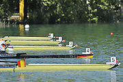 Banyoles, SPAIN,  LM 4- line up for the start of the heat,  FISA World Cup Rd 1. Lake Banyoles   Friday 29/05/2009   [Mandatory Credit. Peter Spurrier/Intersport Images]