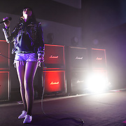 WASHINGTON, DC - March 27th, 2012 - Alexis Krauss of indie-rock duo Sleigh Bells performs at the 9:30 Club in Washington, D.C. The duo's second full length album, Reign of Terror, was released in February and debuted at number 12 on the Billboard Hot 200. (Photo by Kyle Gustafson/For The Washington Post)
