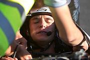 Jan Bos zit uitgeput in de VeloX2 na een race. In de buurt van Battle Mountain, Nevada, strijden van 10 tot en met 15 september 2012 verschillende teams om het wereldrecord fietsen tijdens de World Human Powered Speed Challenge. Het huidige record is 133 km/h.<br /> <br /> Jan Bos is exhausted in the VeloX2 at the end of the race. Near Battle Mountain, Nevada, several teams are trying to set a new world record cycling at the World Human Powered Vehicle Speed Challenge from Sept. 10th till Sept. 15th. The current record is 133 km/h.