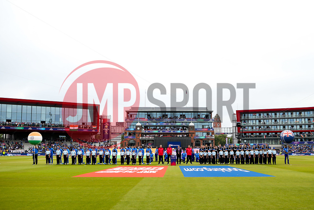 India and New Zealand line up for the national anthems - Mandatory by-line: Robbie Stephenson/JMP - 09/07/2019 - CRICKET - Old Trafford - Manchester, England - India v New Zealand - ICC Cricket World Cup 2019 - Semi Final
