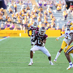 Sep 26, 2020; Baton Rouge, Louisiana, USA; Mississippi State Bulldogs wide receiver JaVonta Payton (0) runs after a catch against the LSU Tigers during the second half at Tiger Stadium. Mandatory Credit: Derick E. Hingle-USA TODAY Sports