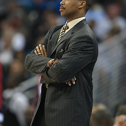 28 January 2009:  New Orleans Hornets coach Byron Scott watches his team during a 94-81 win by the New Orleans Hornets over the Denver Nuggets at the New Orleans Arena in New Orleans, LA. The Hornets wore special throwback uniforms of the former ABA franchise the New Orleans Buccaneers for the game as they honored the Bucs franchise as a part of the NBA's Hardwood Classics series. .
