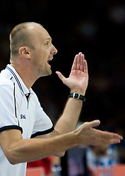 Head coach of Slovenia Jure Zdovc  during the basketball match at Preliminary Round of Eurobasket 2009 in Group C between Slovenia and Spain, on September 09, 2009 in Arena Torwar, Warsaw, Poland. Spain won 90:84 after overtime.  (Photo by Vid Ponikvar / Sportida)