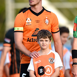 BRISBANE, AUSTRALIA - NOVEMBER 7: Tom Aldred of the Roar enters the field during the friendly match between Eastern Suburbs FC and Brisbane Roar FC at Heath Park on November 7, 2020 in Brisbane, Australia. (Photo by Patrick Kearney)