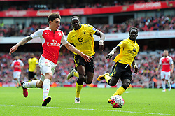 Hector Bellerin of Arsenal runs down the wing  - Mandatory by-line: Dougie Allward/JMP - 15/05/2016 - FOOTBALL - Emirates Stadium - London, England - Arsenal v Aston Villa - Barclays Premier League