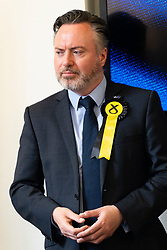 Edinburgh, Scotland, UK. 27 May, 2019. The six new Scottish MEPs are declared at the City Chambers in Edinburgh, SNP's Alyn Smith, Christian Allard and Aileen McLeod, Louis Stedman-Bruce from the Brexit Party, Sheila Ritchie of the Liberal Democrats and Baroness Nosheena Mobarik of the Conservatives. Pictured SNP's Alyn Smith