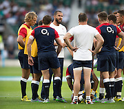 Twickenham, England.  Backs Coach, Andy FARRELL talks to the players, pre game, QBE International. England vs France [World cup warm up match]  {DOW  {DATE}  [Mandatory Credit. Peter SPURRIER/Intersport Images.