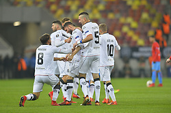 December 7, 2017 - Bucharest, Romania - Energy Investment Lugano's players celebrates after Fabio Daprela scored the 0-1 against of Steaua Bucharest during the UEFA Europa League group G football match FCSB Steaua Bucuresti vs Energy Investments Lugano, on December 7, 2017 in Bucharest, Romania. (Credit Image: © Alex Nicodim/NurPhoto via ZUMA Press)
