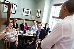 President Barack Obama greets patrons during a visit with Shanna Peeples, the 2015 National Teacher of the Year, at Teaism in Washington, D.C., April 29, 2015. (Official White House Photo by Pete Souza)<br /> <br /> This official White House photograph is being made available only for publication by news organizations and/or for personal use printing by the subject(s) of the photograph. The photograph may not be manipulated in any way and may not be used in commercial or political materials, advertisements, emails, products, promotions that in any way suggests approval or endorsement of the President, the First Family, or the White House.