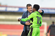 Forest Green Rovers manager, Mark Cooper celebrates with goal scorer Forest Green Rovers Reece Brown(10) at full time during the EFL Sky Bet League 2 match between Stevenage and Forest Green Rovers at the Lamex Stadium, Stevenage, England on 21 October 2017. Photo by Adam Rivers.