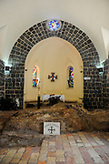 Israel, Sea of Galilee, Tabgha Interior of the Church of the Primacy of St Peter