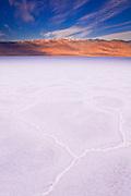 Salt pan under Telescope Peak at dawn, Death Valley National Park. California