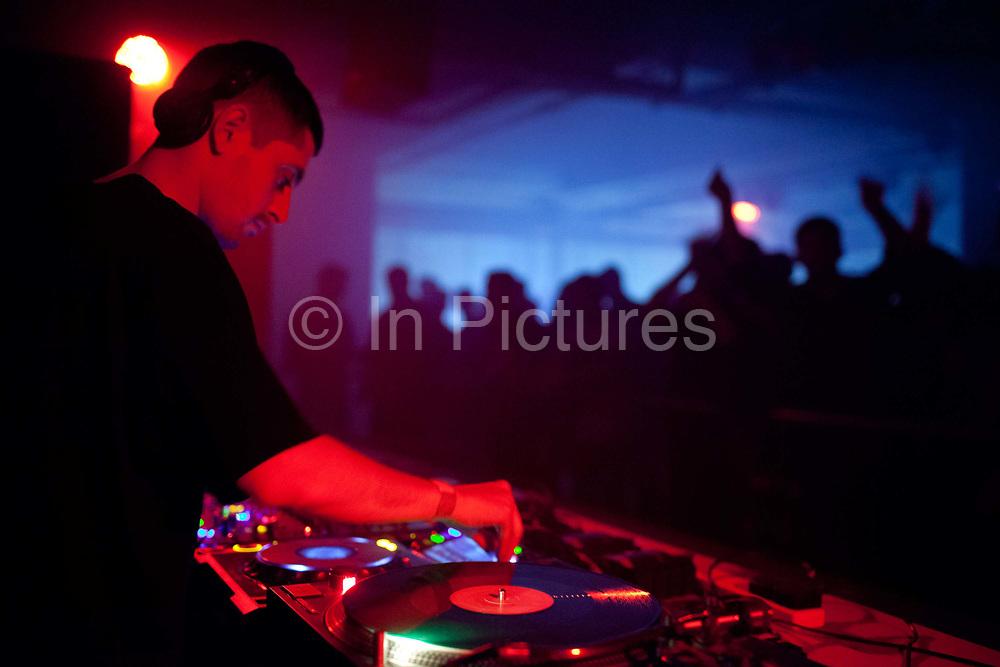 L-Vis, Bok Bok, 1990, Scratcha DVA, DJs playing at Night Slugs and Dollop club night at the Laundry, London Fields, Hackney, London.