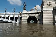 Paris . Flooding . The Seine river  and Alexandre III bridge