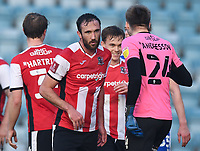 Football - 2020 / 2021 Emirates FA Cup - Round 2 - Gillingham vs Exeter City - Priestfield Stadium<br /> <br /> Exeter City's Rory McArdle at the final whistle after their 3-2 victory.<br /> <br /> COLORSPORT/ASHLEY WESTERN
