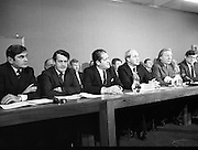 Fianna Fáil Front Bench at Press Conference January 1982..1982-01-14.14th January 1982..14/01/1982.01.14.82...Charles Haughey presents his front bench to the waiting media..Pictured at Leinster House..Front row From Left: ..Ray McSharry TD: Spokesman on Fisheries..Des O'Malley TD:.Spokeman on Industry and Commerce..Brian Lenihan TD:..George Colley TD: Deputy Leader and Spokesman on Energy..Charles Haughey TD: Leader of the Opposition..Ray Burke TD: Leader of the House ..Back row from left:..Second  - Sean Doherty TD